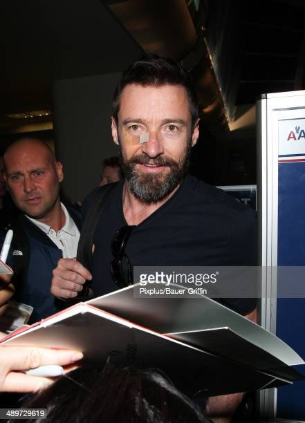 Hugh Jackman is seen at LAX on May 11 2014 in Los Angeles California