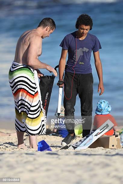 Hugh Jackman is seen at the beach with son Oscar Jackman on August 16 2016 in Sydney Australia