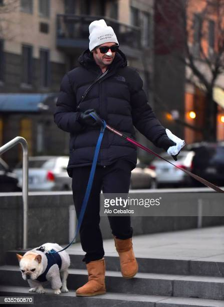 Hugh Jackman is seen in Soho with a medical dressing on his nose on February 14 2017 in New York City