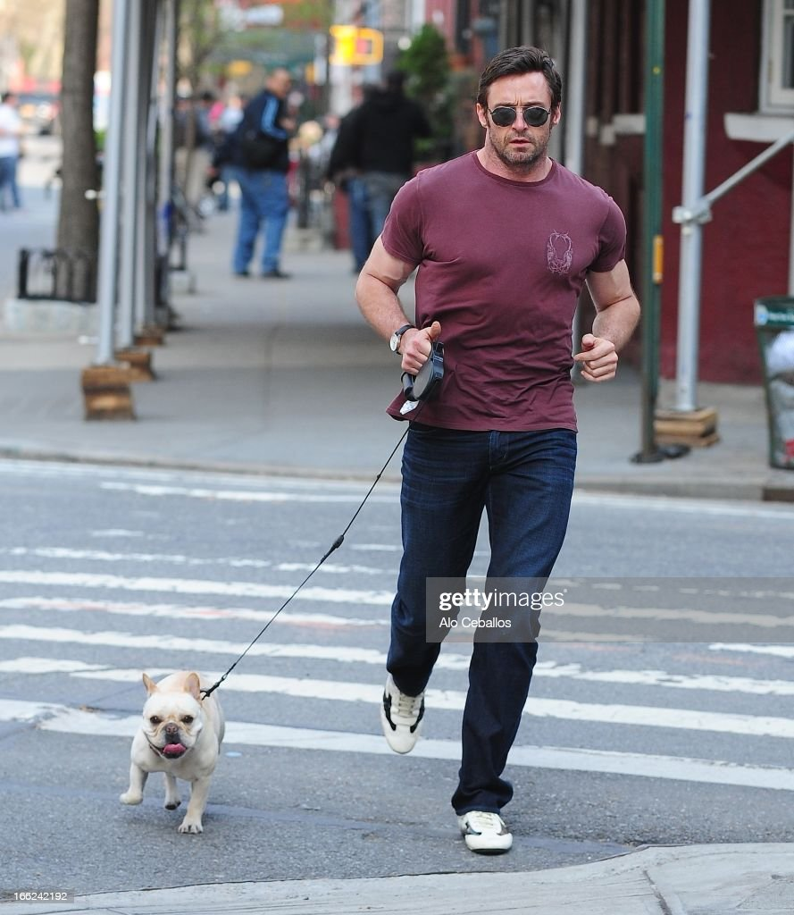 Hugh Jackman is seen in the West Village on April 10, 2013 in New York City.