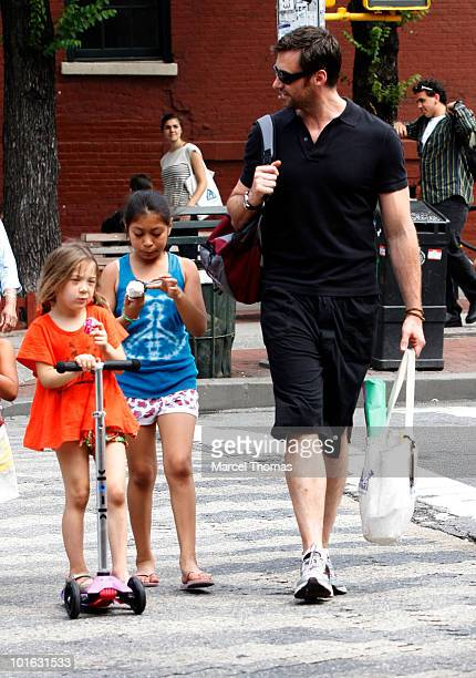 Hugh Jackman is seen picking up his daughter Ava Eliot Jackman from school on June 4 2010 in New York New York