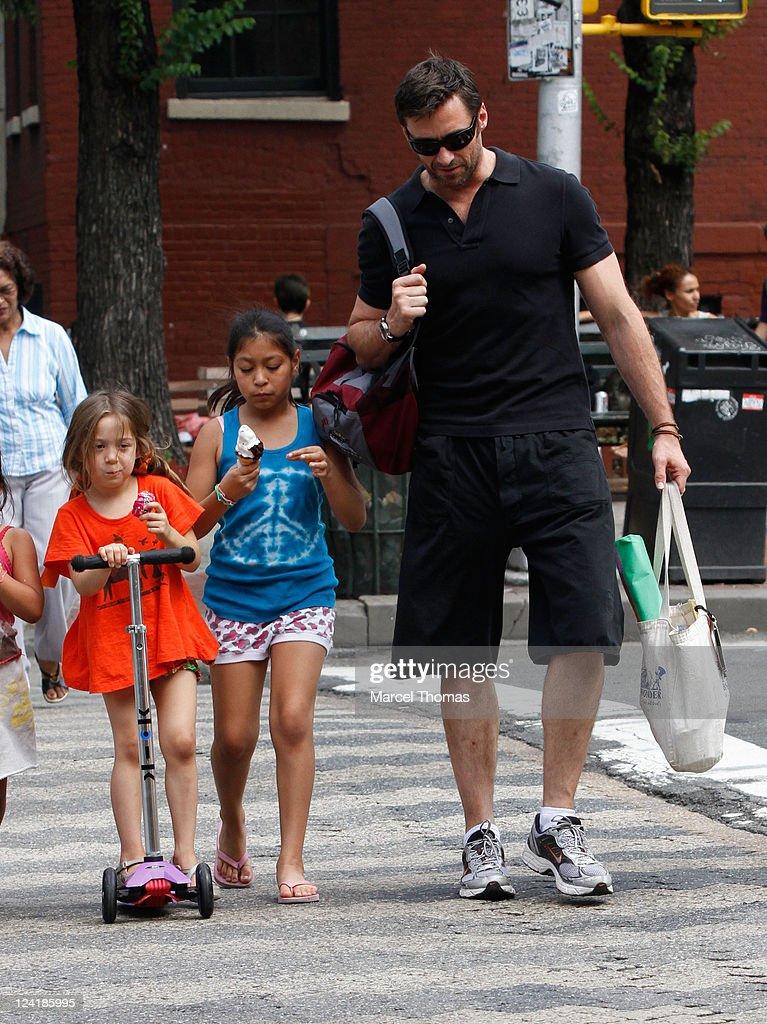 Hugh Jackman is seen picking up his daughter Ava Eliot Jackman from school on June 4, 2010 in New York, New York.