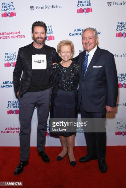 Hugh Jackman Madlyn and Leonard Abramson walk the red carpet during the Philly Fights Cancer Round 5 Event benefiting Penn Medicine's Abramson Cancer...