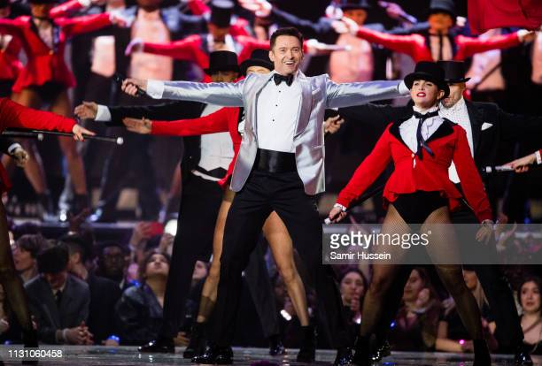 Hugh Jackman performs a song from The Greatest Showman during The BRIT Awards 2019 held at The O2 Arena on February 20 2019 in London England