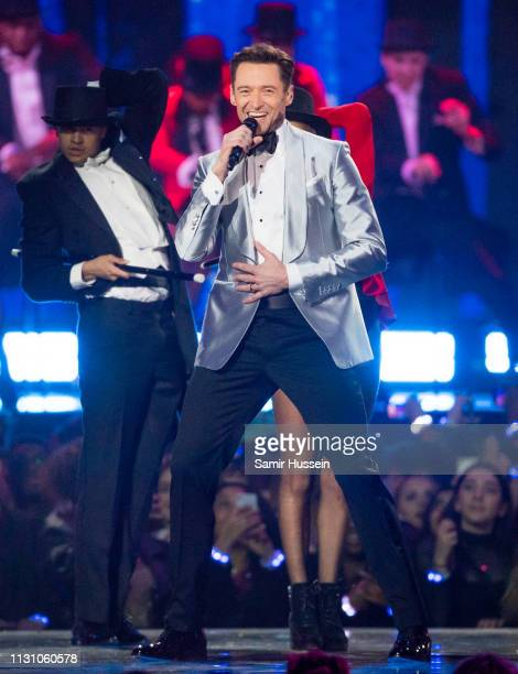 Hugh Jackman performs a song from The Greatest Snowman during The BRIT Awards 2019 held at The O2 Arena on February 20 2019 in London England