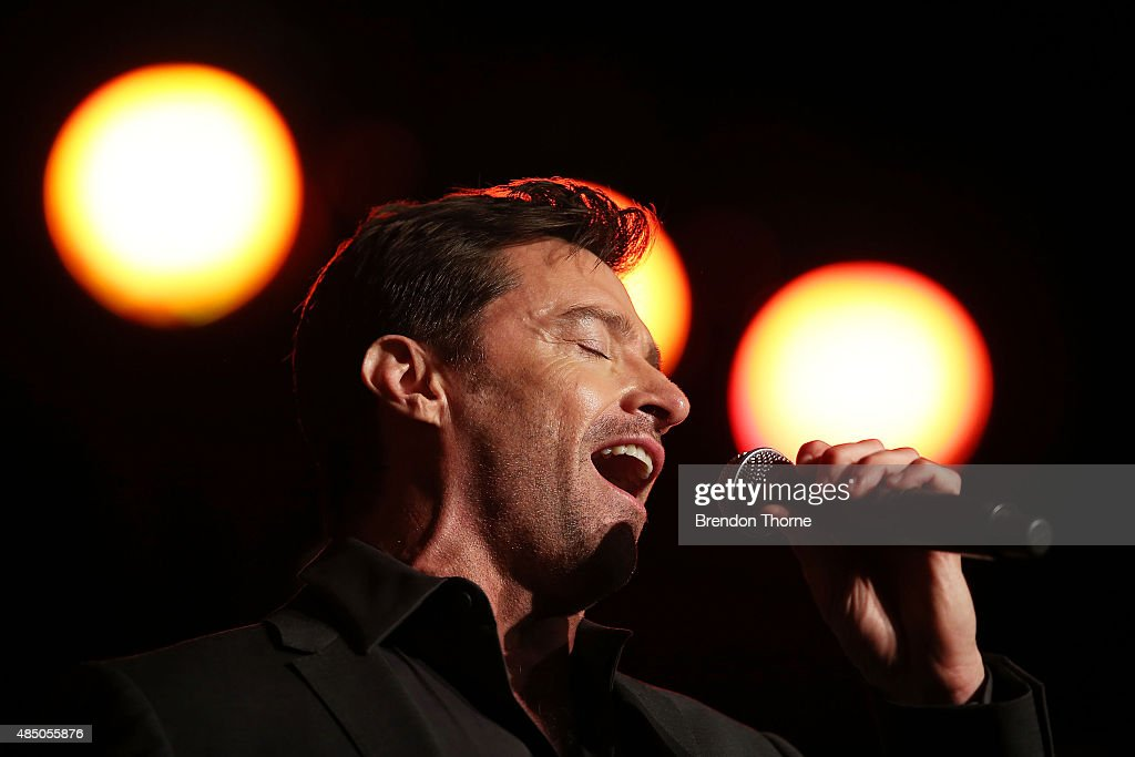 Hugh Jackman performs during a press conference at Four Seasons Hotel on August 24, 2015 in Sydney, Australia.