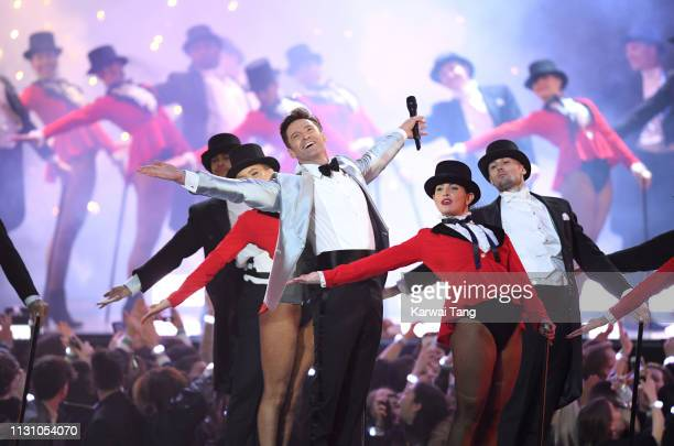 Hugh Jackman performs during The BRIT Awards 2019 held at The O2 Arena on February 20 2019 in London England