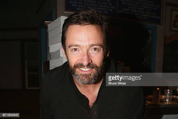 Hugh Jackman poses backstage at the hit musical 'Waitress' on Broadway at The Brooks Atkinson Theatre on November 5 2016 in New York City