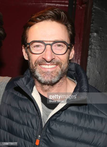 Hugh Jackman poses backstage at the limited engagement play The Atheist at Urban Stages Theatre on March 1 2020 in New York City