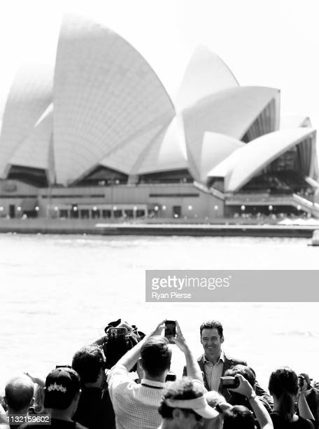 Hugh Jackman poses during a media announcement at the Museum of Contemporary Art on February 26 2019 in Sydney Australia