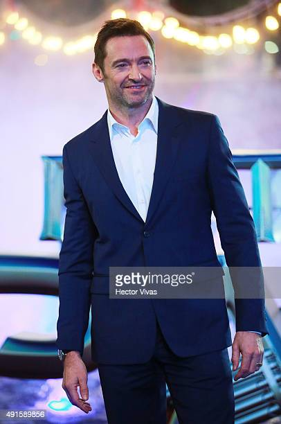 Hugh Jackman poses for pictures during a red carpet to present the movie ' Peter Pan' at Toreo Parque Central on October 06 2015 in Mexico City Mexico
