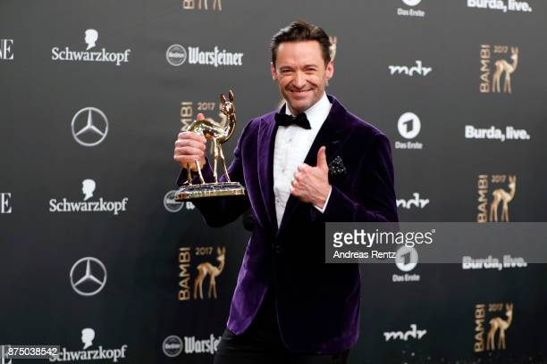 Hugh Jackman poses with his award at the Bambi Awards 2017 winners board at Stage Theater on November 16 2017 in Berlin Germany