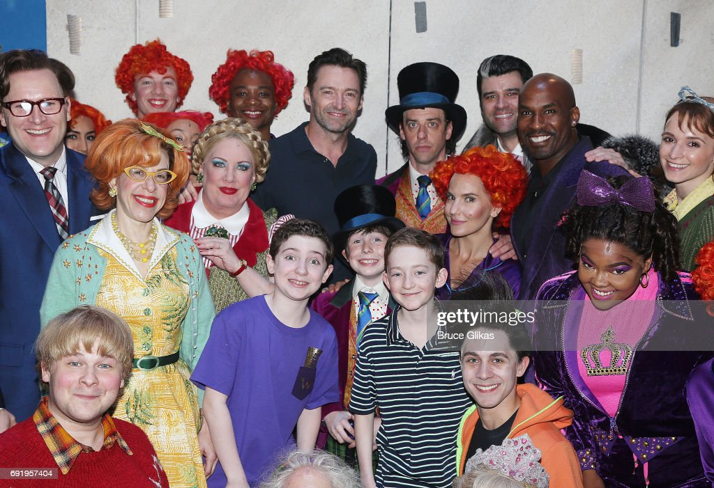 celebrities broadway photos and images  hugh jackman poses the cast backstage at the hit musical charlie and the chocolate