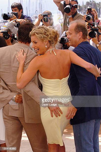 Hugh Jackman Rebecca Romijn and Kelsey Grammer during 2006 Cannes Film Festival 'XMen 3 The Last Stand' Photocall at Palais des Festival Terrace in...