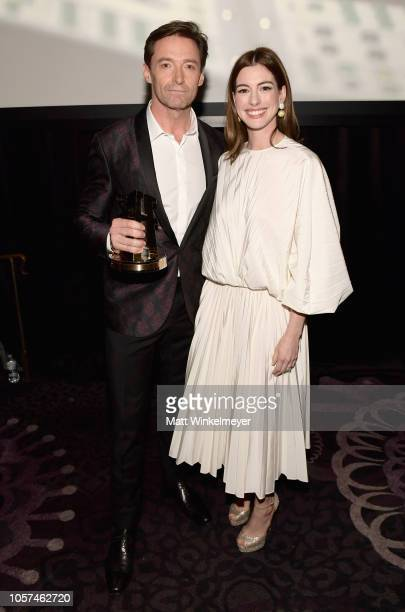 Hugh Jackman recipient of the Hollywood Actor Award for 'The Front Runner' and Anne Hathaway attend the 22nd Annual Hollywood Film Awards at The...