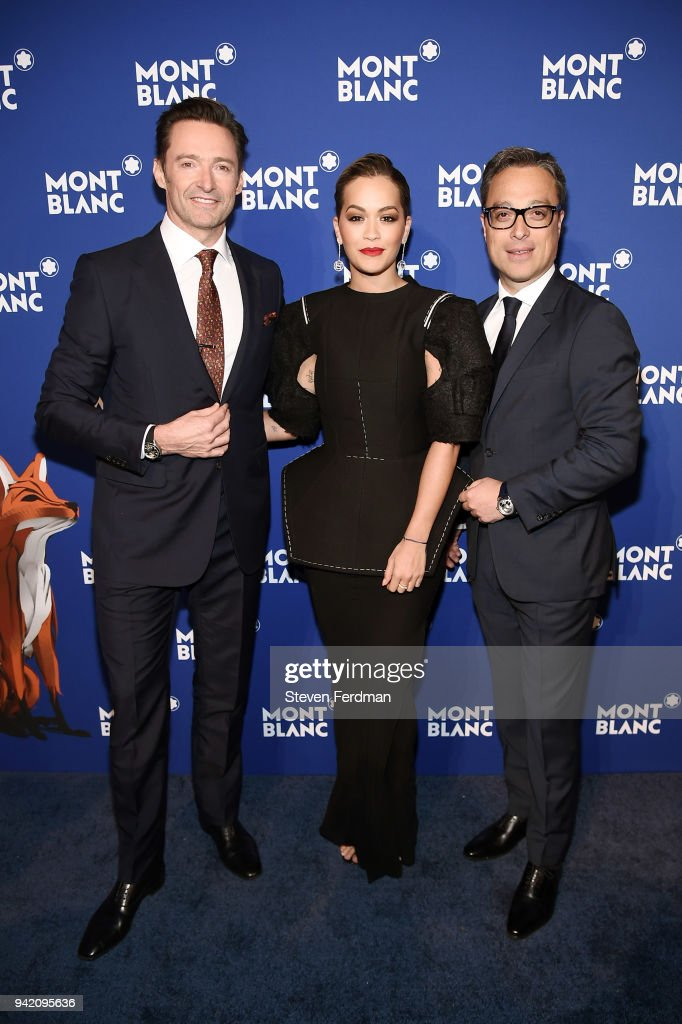 Hugh Jackman, Rita Ora, and Nicolas Baretzki attend Montblanc Celebrates 'Le Petit Prince' at the One World Trade Center Observatory on April 4, 2018 in New York City.