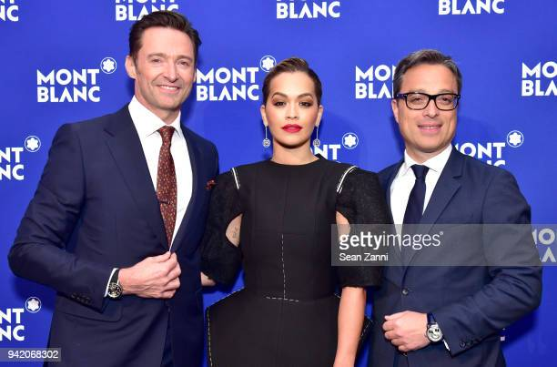Hugh Jackman Rita Ora and Nicolas Baretzki attend the Montblanc Meisterstuck Le Petit Prince event at One World Trade Center Observatory on April 4...