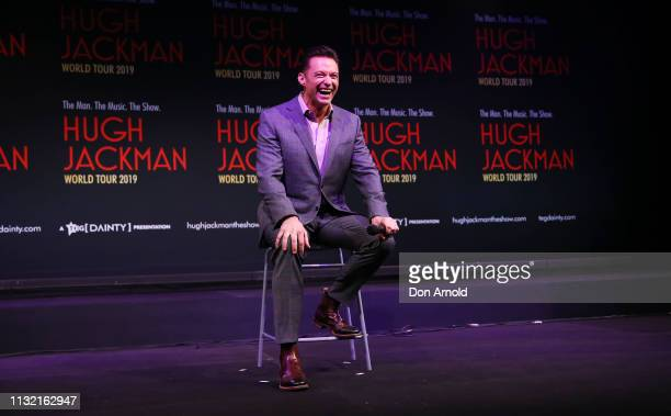 Hugh Jackman speaks during a media announcement at Museum of Contemporary Art on February 26 2019 in Sydney Australia