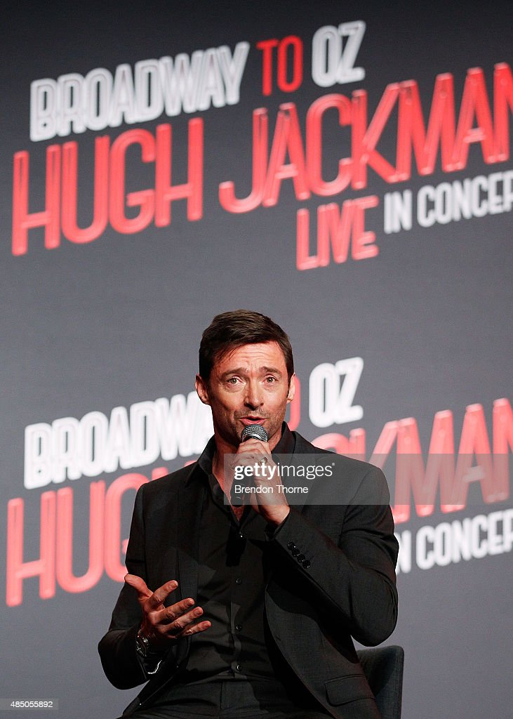 Hugh Jackman speaks during a press conference at Four Seasons Hotel on August 24, 2015 in Sydney, Australia.
