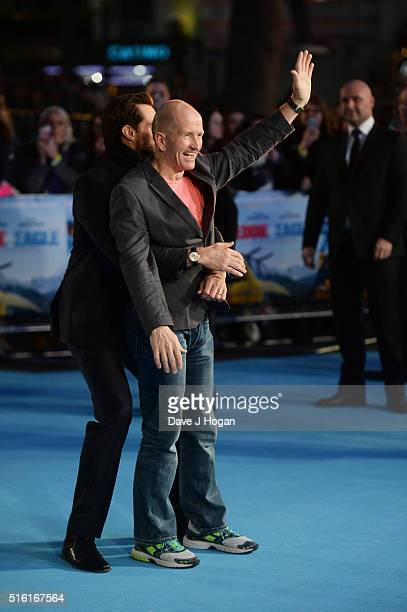 Hugh Jackman surprises Eddie 'The Eagle' Edwards during the European premiere of 'Eddie The Eagle' at Odeon Leicester Square on March 17 2016 in...
