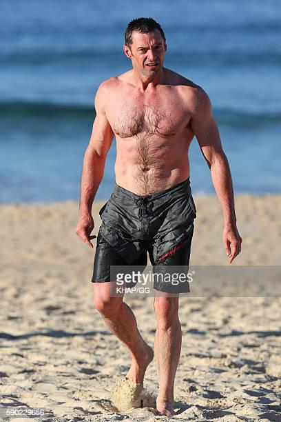 Hugh Jackman swims at Bondi Beach on August 17 2016 in Sydney Australia