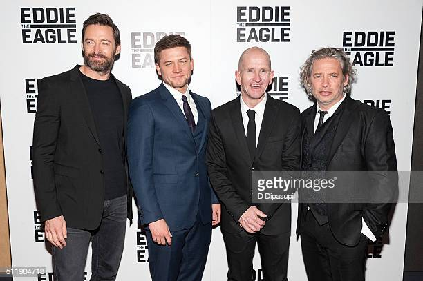 Hugh Jackman Taron Egerton Eddie 'The Eagle' Edwards and director Dexter Fletcher attend the 'Eddie The Eagle' New York screening at Chelsea Bow Tie...
