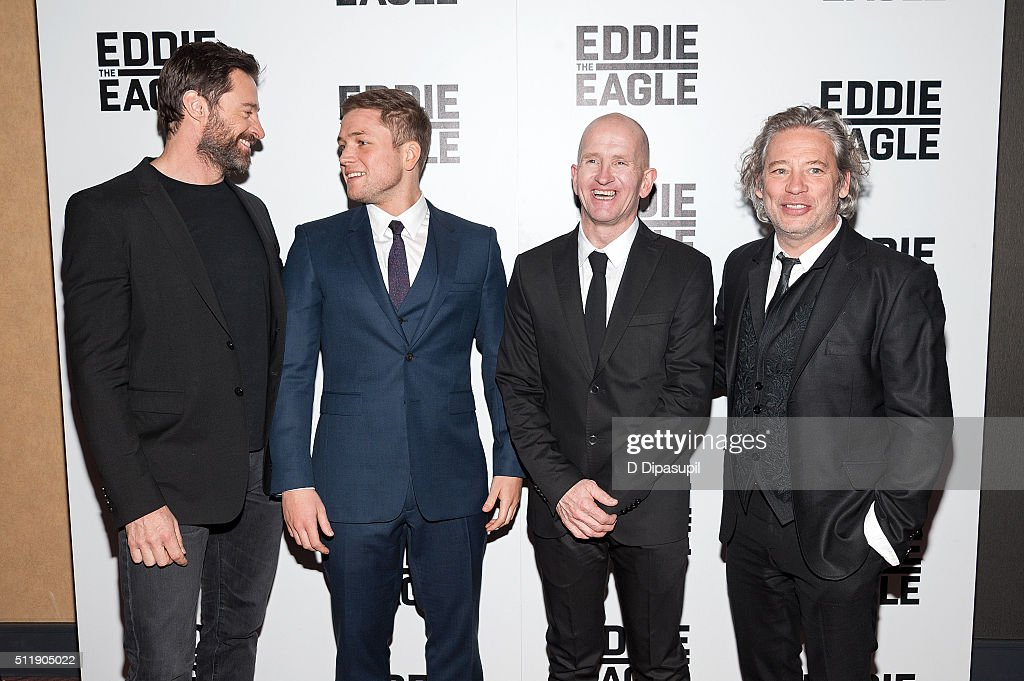 Hugh Jackman, Taron Egerton, Eddie 'The Eagle' Edwards, and director Dexter Fletcher attend the 'Eddie The Eagle' New York screening at Chelsea Bow Tie Cinemas on February 23, 2016 in New York City.