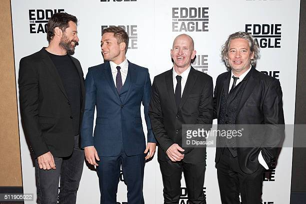 Hugh Jackman Taron Egerton Eddie The Eagle Edwards and director Dexter Fletcher attend the Eddie The Eagle New York screening at Chelsea Bow Tie...