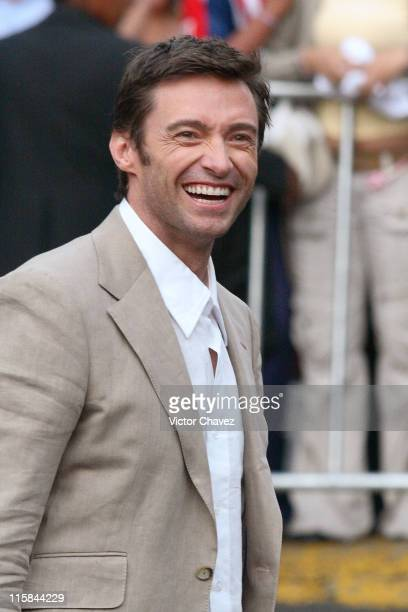 Hugh Jackman throwing signed tshirts to the fans during XMen The Last Stand Mexico City Red Carpet May 15 2006 at Auditorio Nacional in Mexico City...