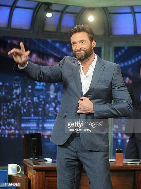 Hugh Jackman visits Late Night With Jimmy Fallon at Rockefeller Center on July 24 2013 in New York City