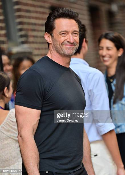 """Hugh Jackman visits """"The Late Show with Stephen Colbert"""" at the Ed Sullivan Theater on July 15, 2021 in New York City."""