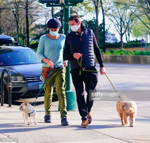 Hugh Jackman walks the dogs with son Oscar Jackman on April 15 2020 in New York City