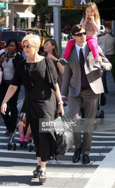Hugh Jackman, wife Deborra Lee Furness and daughter Ava Eliot Jackman are seen on the Streets of Manhattan on September 21, 2009 in New York City.