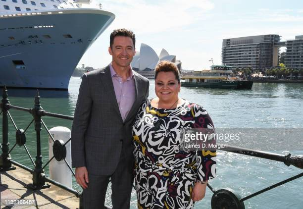 Hugh Jackman with actress Keala Settle beside the harbour after his media announcement at the Museum of Contemporary Art on February 26 2019 in...