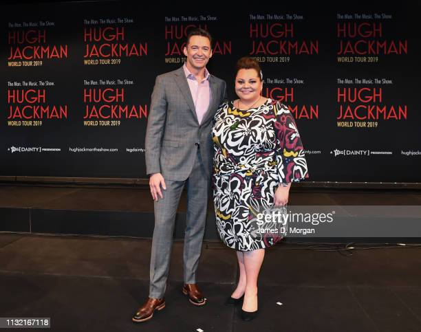 Hugh Jackman with actress Keala Settle during his media announcement at the Museum of Contemporary Art on February 26 2019 in Sydney Australia Hugh...