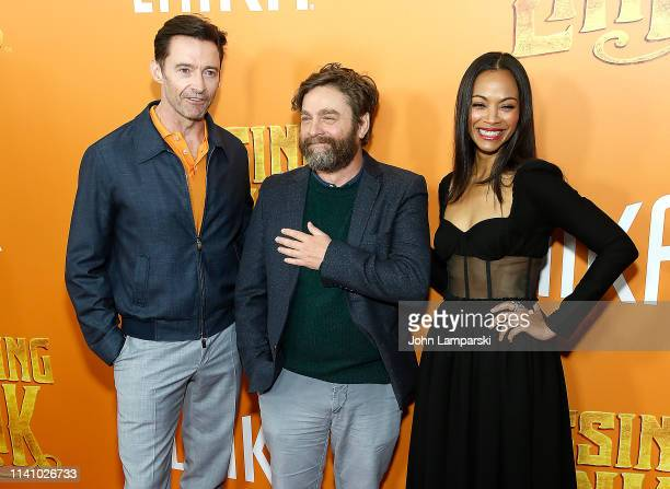 "Hugh Jackman, Zach Galifinakis and Zoe Saldana attend ""Missing Link"" New York Premiere at Regal Cinema Battery Park on April 07, 2019 in New York..."