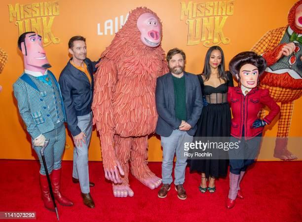 "Hugh Jackman, Zach Galifinakis and Zoe Saldana attend the ""Missing Link"" New York Premiere at Regal Cinema Battery Park on April 07, 2019 in New York..."
