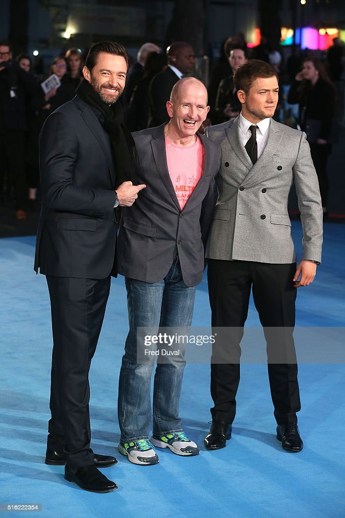Hugh Jackman,Eddie 'The Eagle' Edwards and Taron Egerton attend the European Premiere of 'Eddie The Eagle' at Odeon Leicester Square on March 17, 2016 in London, England.