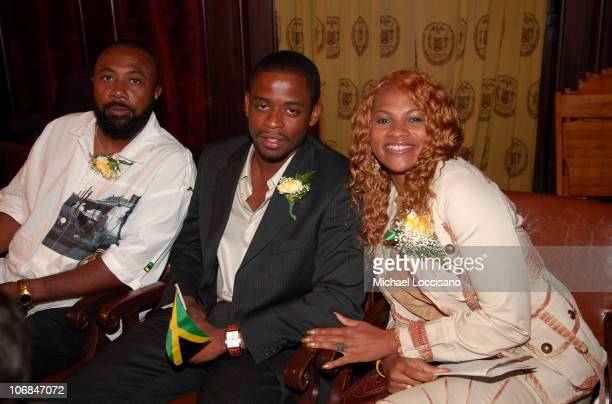 """Hugh Johnson, Dule' Hill and Sandra """"Pepa"""" Denton during Sandra """"Pepa"""" Denton is Honored at the 43rd Anniversary of the Independence of Jamaica at..."""