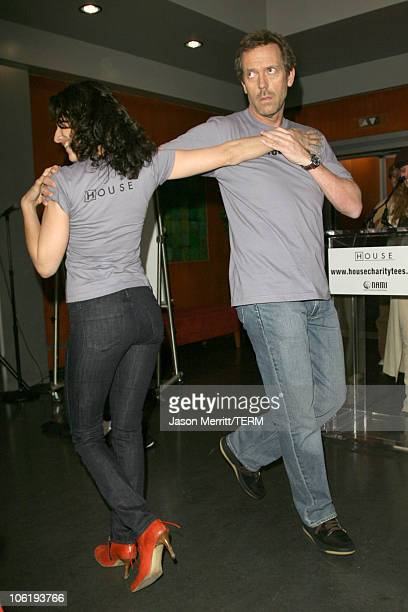 Hugh Laurie and Lisa Edelstein during House Announces Creation of Exclusive Houseism Tees at 20th Century Fox Lot in Los Angeles California United...
