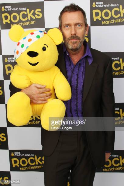 Hugh Laurie poses backstage at Children In Need Rocks Manchester 2011 at The Manchester Evening News Arena on November 17 2011 in Manchester United...