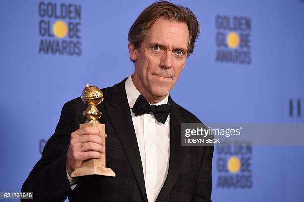 Hugh Laurie poses with the Best Supporting Actor in a TV Series award for his role in The Night Manager in the press room at the 74th annual Golden...