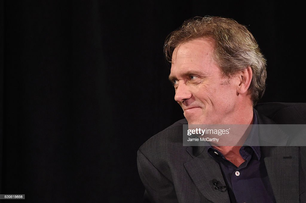 Hugh Laurie speaks onstage during The New York Times TimesTalks at Directors Guild of America Theater on April 11, 2016 in New York City.