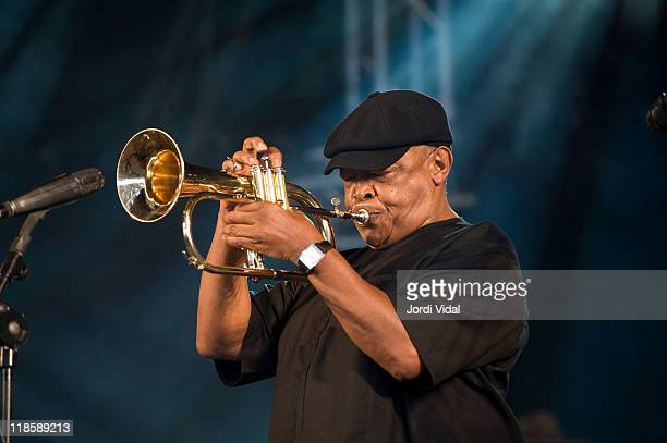 Hugh Masekela of Celebrate Mama Africa performs on stage during the 1st day of Festival Cruilla Barcelona 2011at Parc Del Forum on July 8 2011 in...