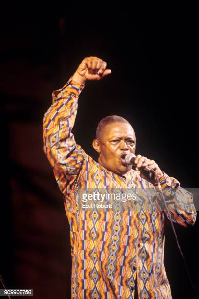 Hugh Masekela performing at Damrosch Park at Lincoln Center in New York City on August 25 2000