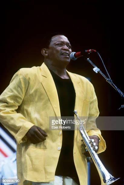 Hugh Masekela performing at Wembley Stadium in London England for the Nelson Mandela 70th Birthday Tribute Concert on June 11 1988