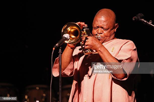 Hugh Masekela performs at Music Hall of the Performing Arts on April 4 2013 in Detroit Illinois
