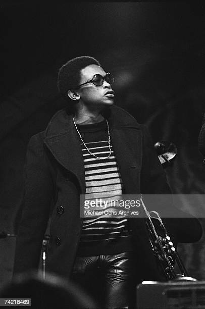 Hugh Masekela performs on stage at the Monterey Pop Festival on June 17 1967 in Monterey California