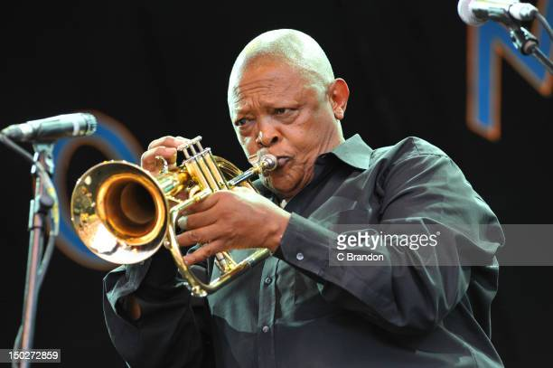 Hugh Masekela performs on stage during the 30th annual world music festival Womad at Charlton Park on July 27 2012 in Wiltshire United Kingdom