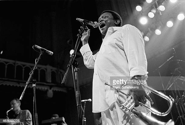 Hugh Masekela trumpet performs at the Paradiso on 12th March 1990 in Amsterdam the Netherlands